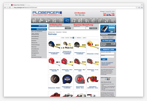 Screenshot B2B Onlineshop Ploberger
